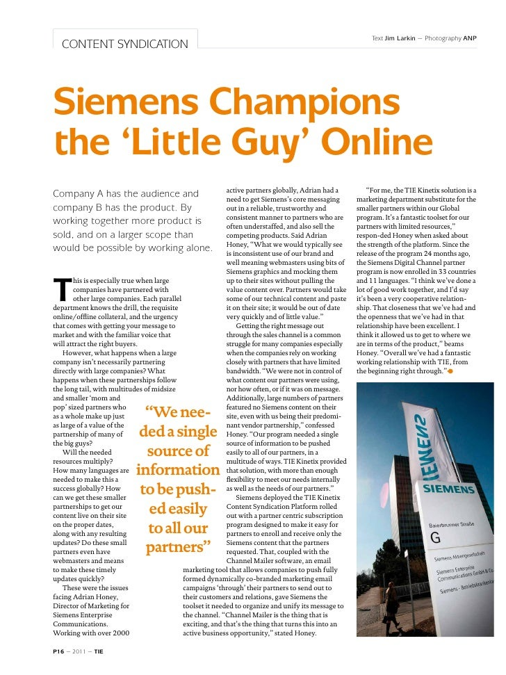 TIE Magazine #3: Siemens Champions the 'Little Guy' Online