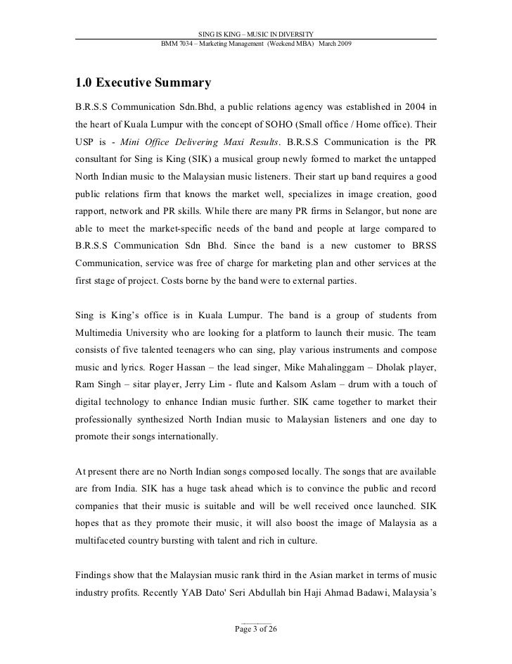 Music Paper Template Executive Summary Outline Examples Format