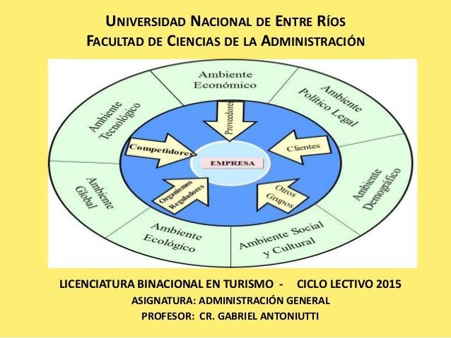 UNIVERSIDAD NACIONAL DE ENTRE RÍOS FACULTAD DE CIENCIAS DE LA ADMINISTRACIÓN LICENCIATURA BINACIONAL EN TURISMO - CICLO LE...