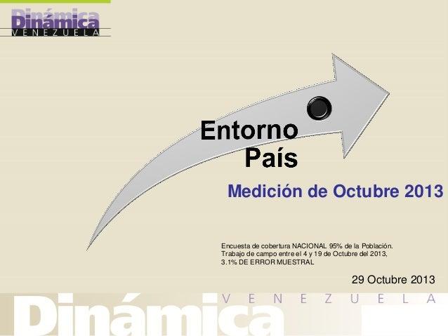 Medición de Octubre 2013 Encuesta de cobertura NACIONAL 95% de la Población. Trabajo de campo entre el 4 y 19 de Octubre d...