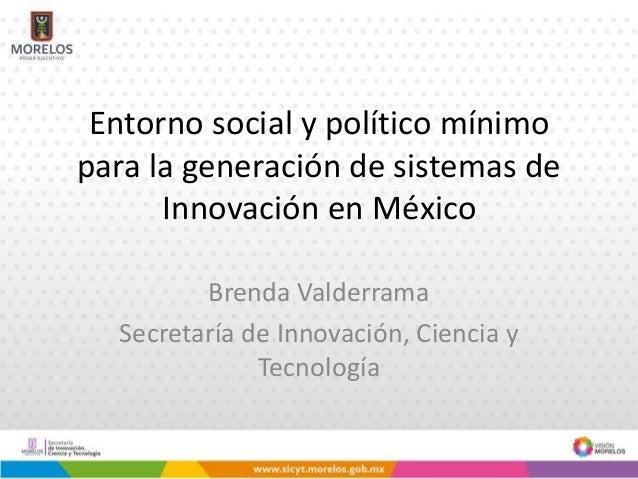 Entorno social y político mínimo para la generación de sistemas de Innovación en México Brenda Valderrama Secretaría de In...