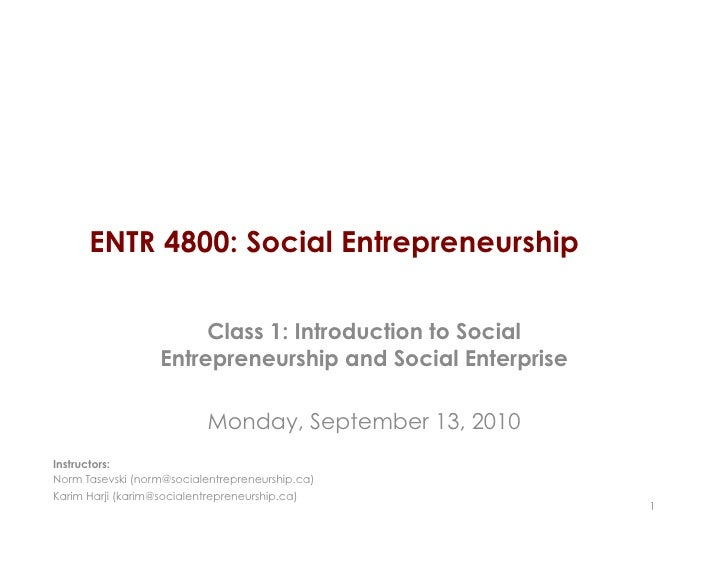 ENTR4800 Class 1: Definitions and Examples of Social Entrepreneurship