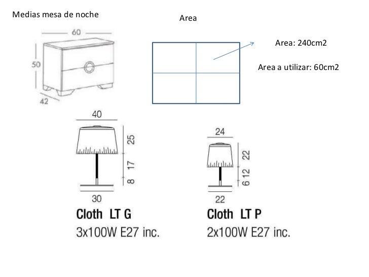 Medias mesa de noche   Area                                  Area: 240cm2                              Area a utilizar: 60...