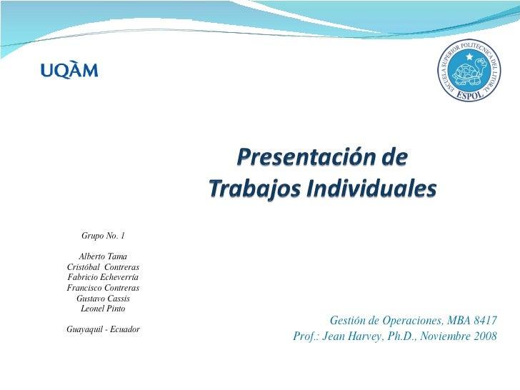 Grupo No. 1     Alberto Tama Cristóbal Contreras Fabricio Echeverría Francisco Contreras   Gustavo Cassis     Leonel Pinto...