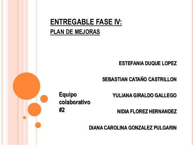 ENTREGABLE FASE IV: PLAN DE MEJORAS  ESTEFANIA DUQUE LOPEZ SEBASTIAN CATAÑO CASTRILLON  Equipo colaborativo #2  YULIANA GI...