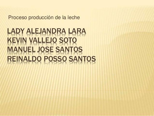Proceso producción de la leche  LADY ALEJANDRA LARA  KEVIN VALLEJO SOTO  MANUEL JOSE SANTOS  REINALDO POSSO SANTOS