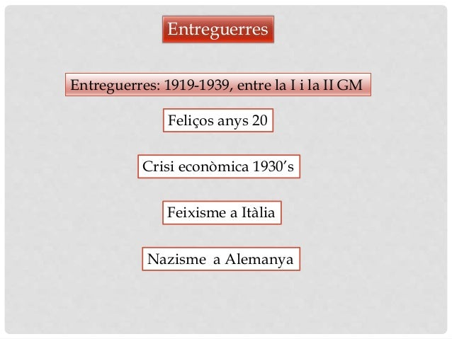 Entreguerres: 1919-1939, entre la I i la II GM Entreguerres Nazisme a Alemanya Feliços anys 20 Crisi econòmica 1930's Feix...