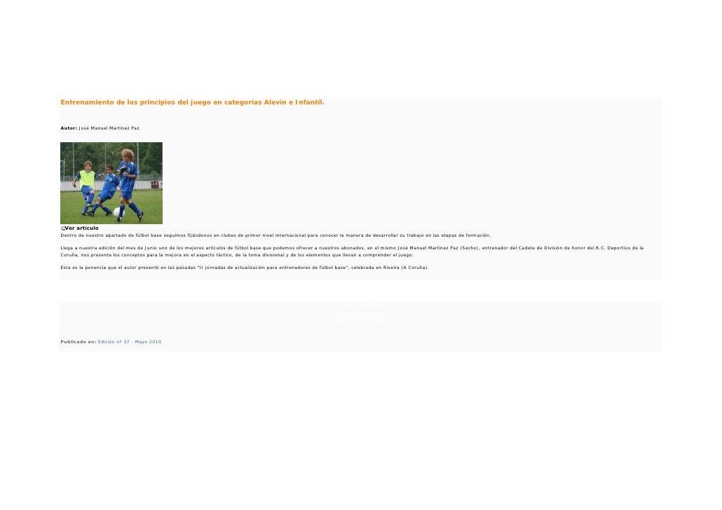 Entrenamiento de los principios del juego en categorías Alevín e Infantil.Autor: José Manuel Martínez Paz Ver artículoDent...