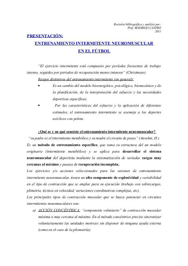 Entrenamiento intermitente neuromuscular (fundamentación)