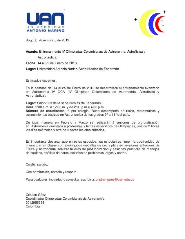 Entrenamiento Iv Olimpiadas Colombianas de Astronomía, Astrofísica y Astronáutica