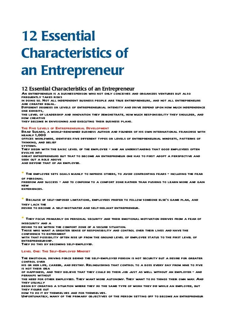 Entrepreneur Essential Qualities