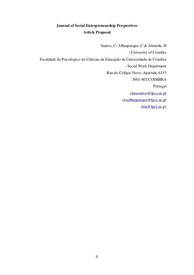 Journal of Social Entrepreneurship Perspectives                          Article Proposal                                 ...