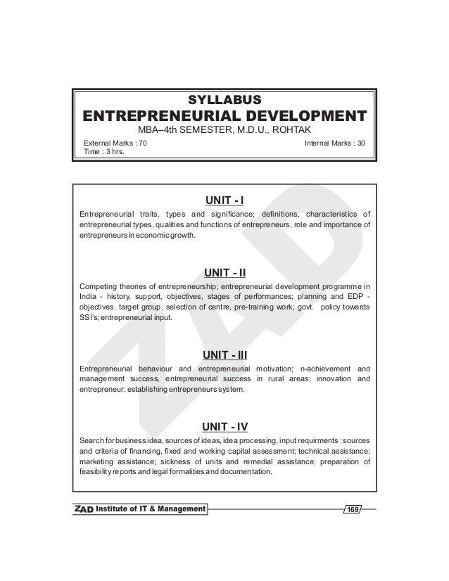 UNIT - I UNIT - II UNIT - III UNIT - IV Entrepreneurial traits, types and significance; definitions, characteristics of en...