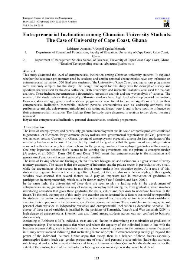 Entrepreneurial inclination among ghanaian university students the case of university of cape coast, ghana