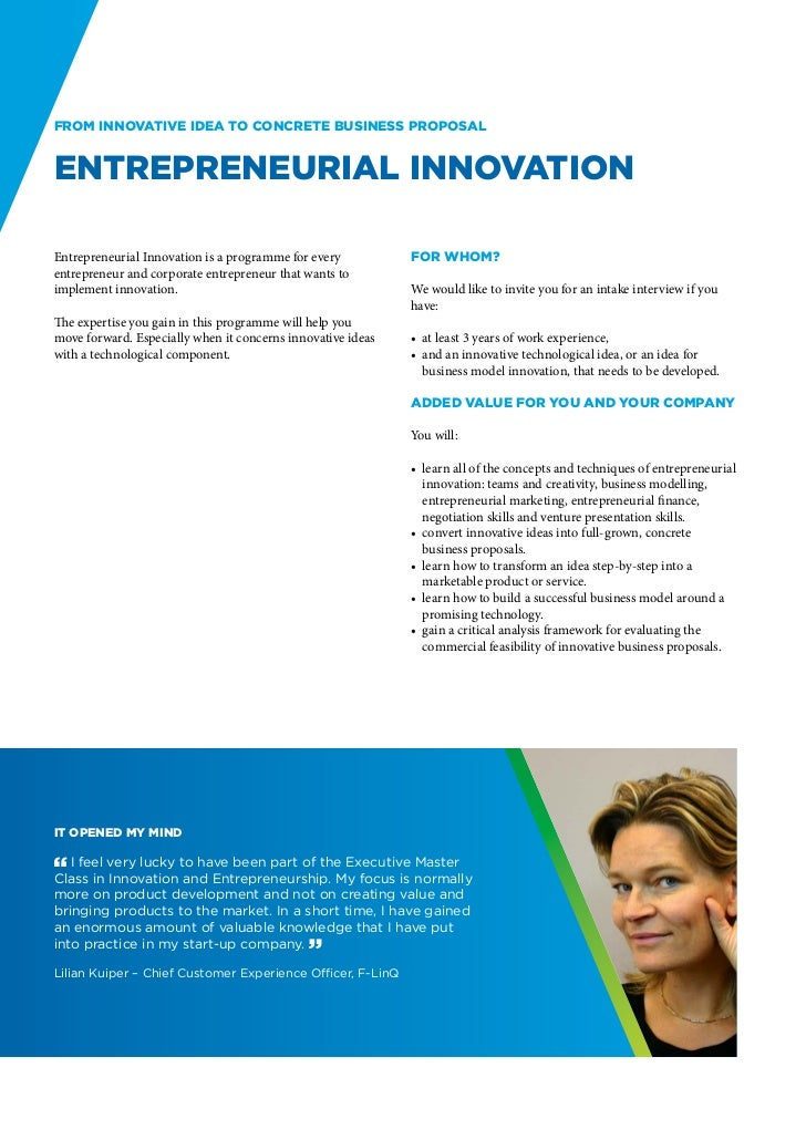 From innovative idea to concrete business proposalEntrepreneurial InnovationEntrepreneurial Innovation is a programme for ...