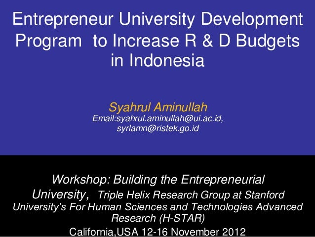Entrepreneur University DevelopmentProgram to Increase R & D Budgets           in Indonesia                   Syahrul Amin...