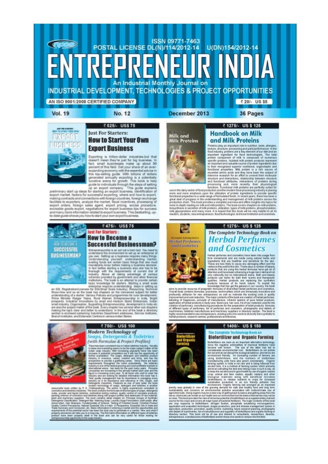 ENTREPRENEUR INDIA, DECEMBER 2013 1Visit us at : www.niir.org