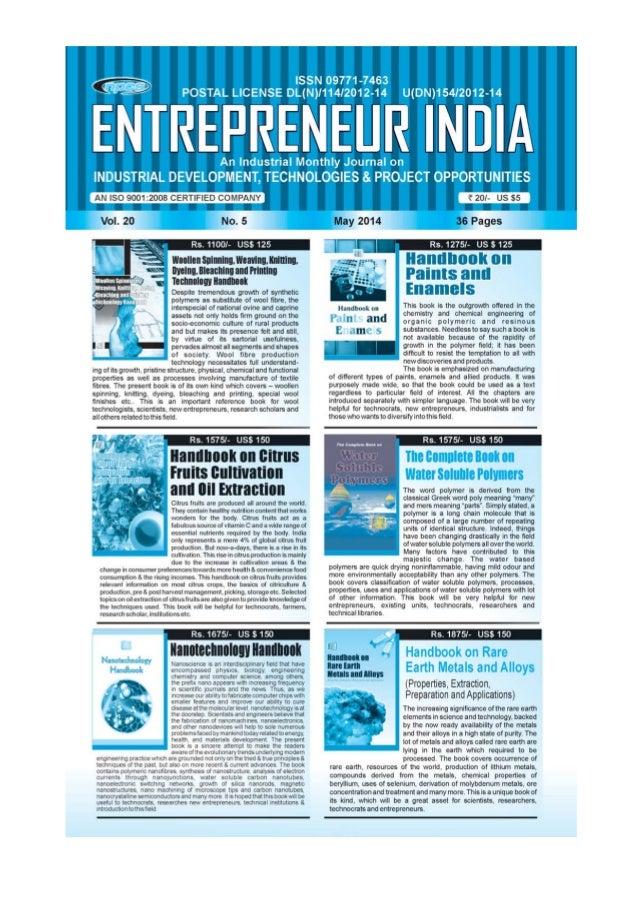 ENTREPRENEUR INDIA, MAY 2014 1Visit us at : www.niir.org
