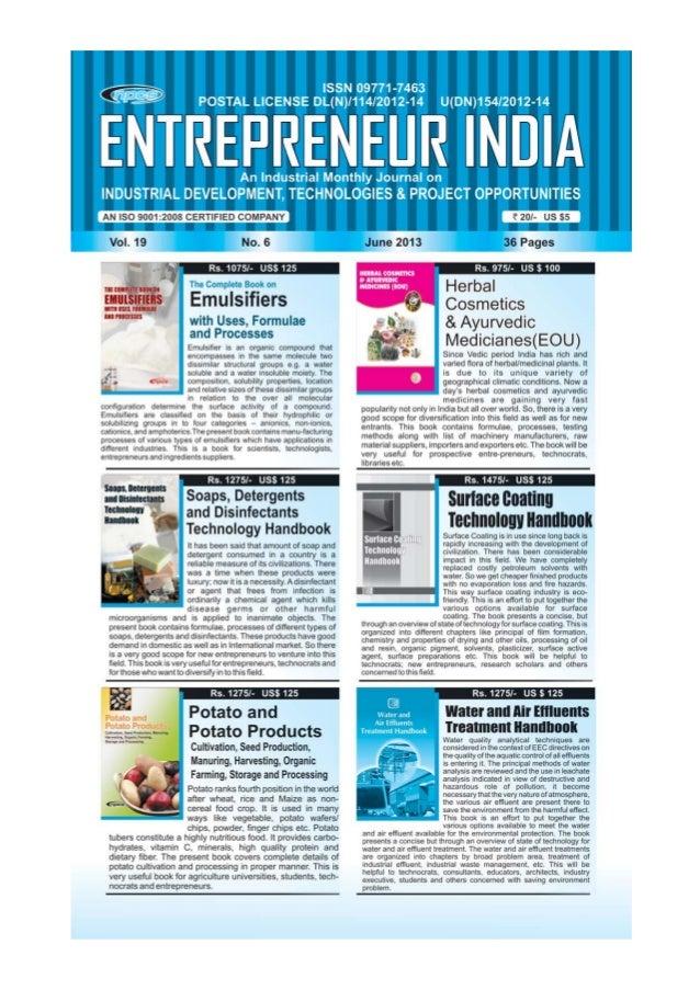 ENTREPRENEUR INDIA, JUNE 2013 1Visit us at : www.niir.org