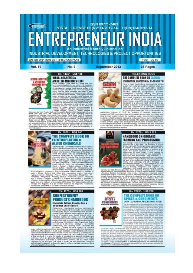 ENTREPRENEUR INDIA, SEPTEMBER 2013 1Visit us at : www.niir.org