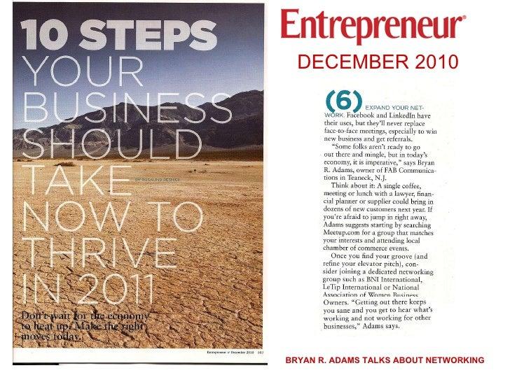 Bryan R. Adams Discusses Networking In Entrepreneur Magazine