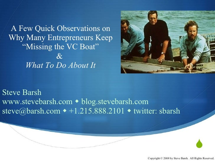 """Why Many Entrepreneurs """"Miss The VC Boat"""" and What To Do About It - Supernova 2008"""