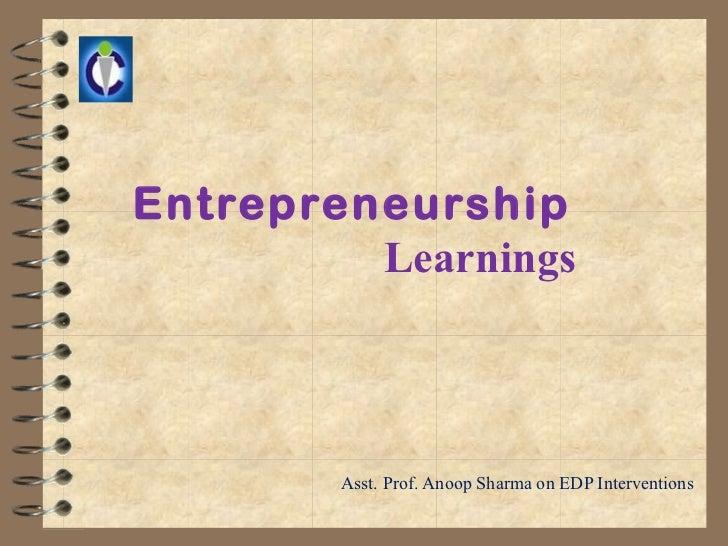 Entrepreneurseship learnings