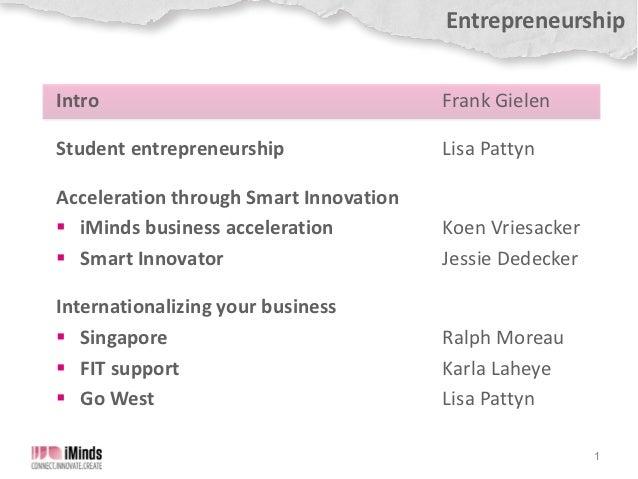 iMinds The Conference 2012 - Entrepreneurship