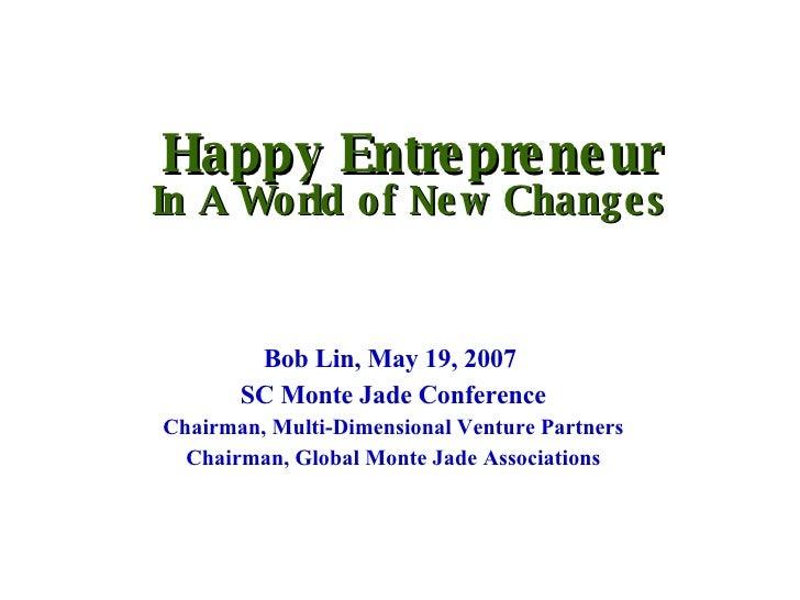 On Entrepreneurship, by Bob Lin