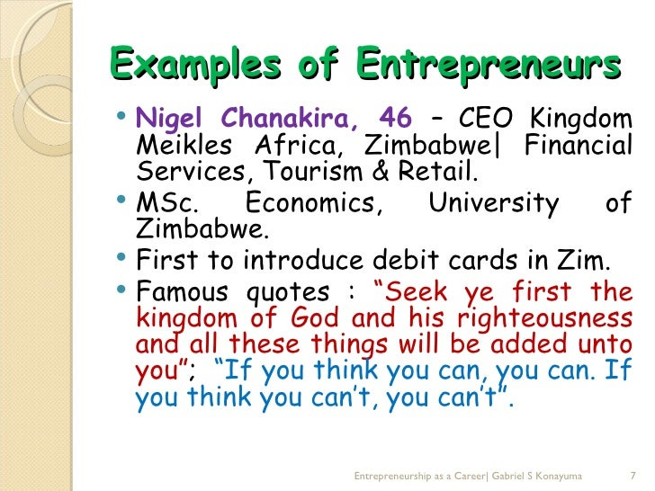 examples of entrepreneur
