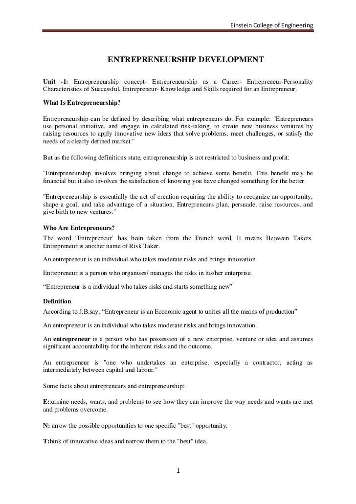 Einstein College of Engineering                         ENTREPRENEURSHIP DEVELOPMENTUnit -1: Entrepreneurship concept- Ent...