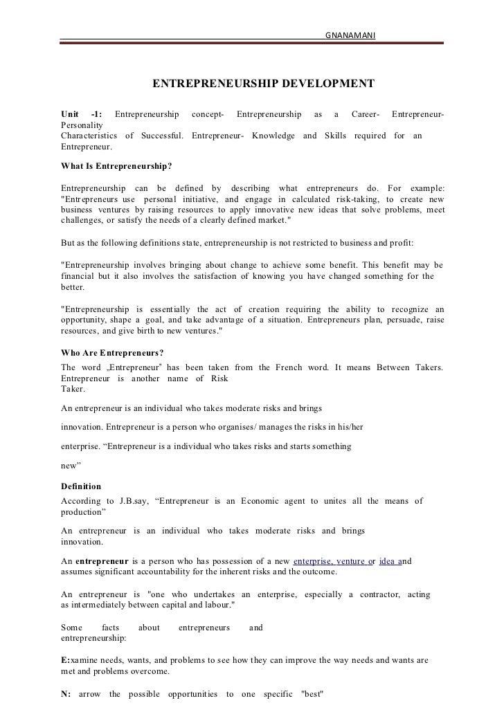 GNANAMANI                         ENTREPRENEURSHIP DEVELOPMENTUnit -1: Entrepreneurship concept- Entrepreneurship as a Car...