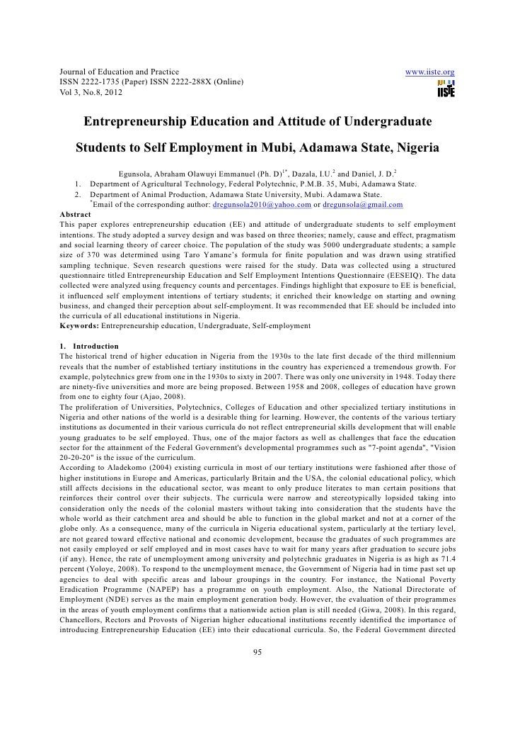 Entrepreneurship education and attitude of undergraduate students to self employment in mubi, adamawa state, nigeria