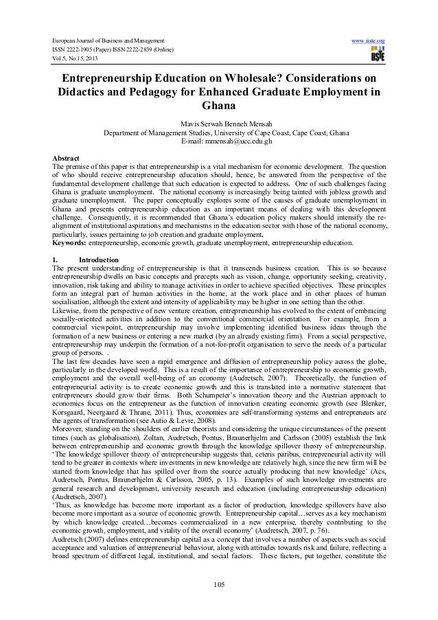 Entrepreneurship education on wholesale  considerations on didactics and pedagogy for enhanced graduate employment in ghana