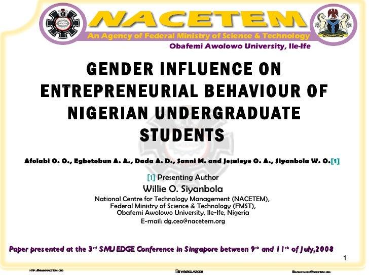 Gender Influence on Entrepreneurship