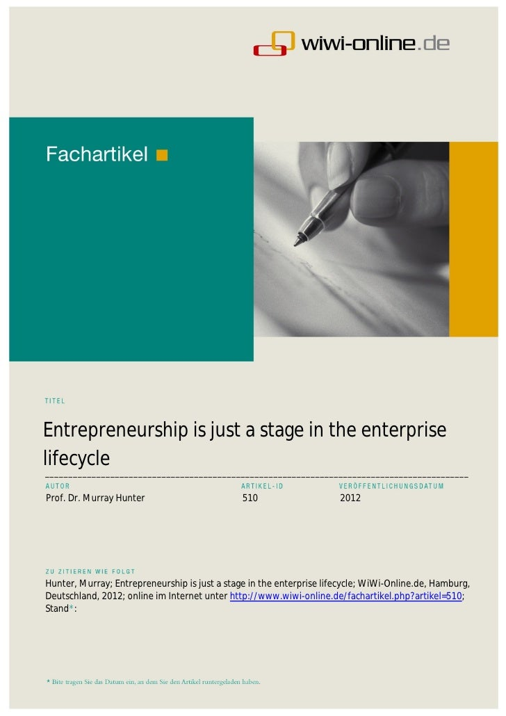 Entrepreneurship is just a stage in the enterprise