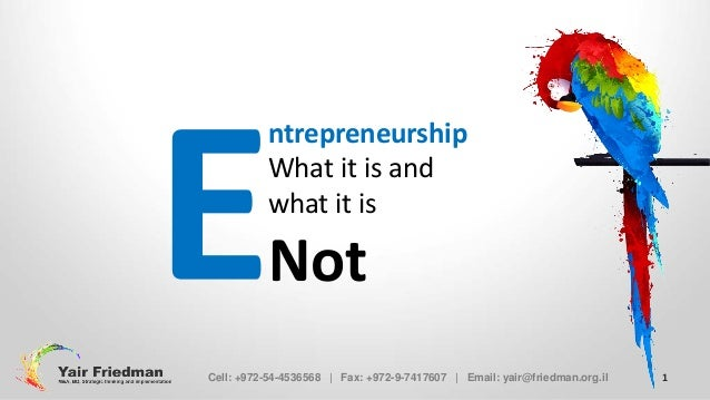 Entrepreneurship - What it is and what it is NOT