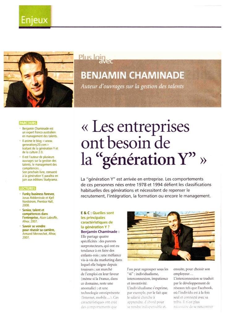 La  génération Y pour Entreprise Et Carrières