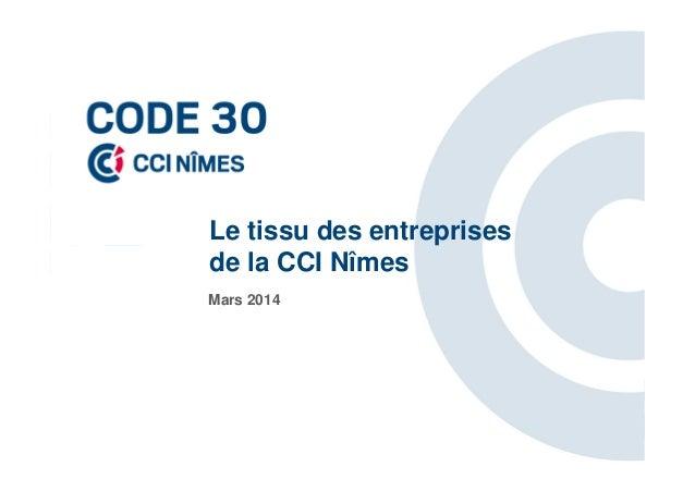 Le tissu des entreprises de la CCI Nîmes Mars 2014
