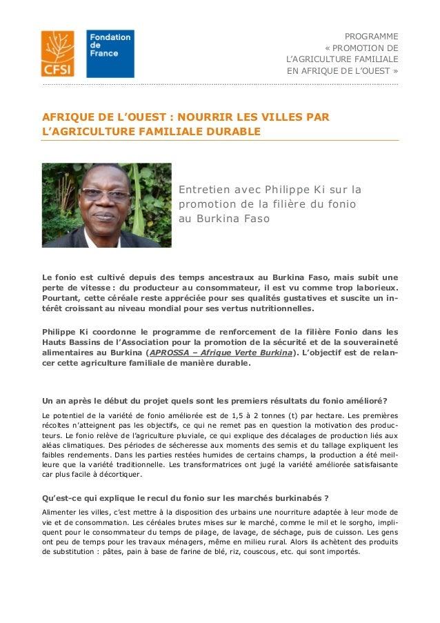 PROGRAMME « PROMOTION DE L'AGRICULTURE FAMILIALE EN AFRIQUE DE L'OUEST » …………………………………………………………………………………………………….…………………………...