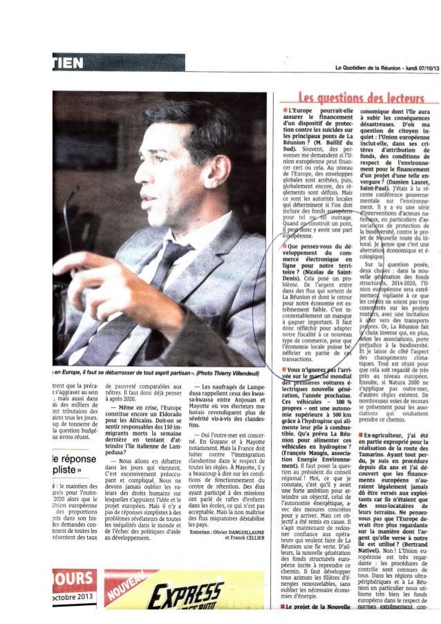Entretien de Monsieur le Député Européen Younous Omarjee   question commerce électronique pour #lareunion - quotidien-07102013