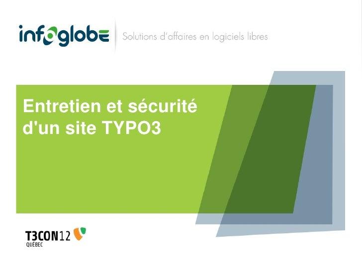 Entretien et sécuritédun site TYPO3
