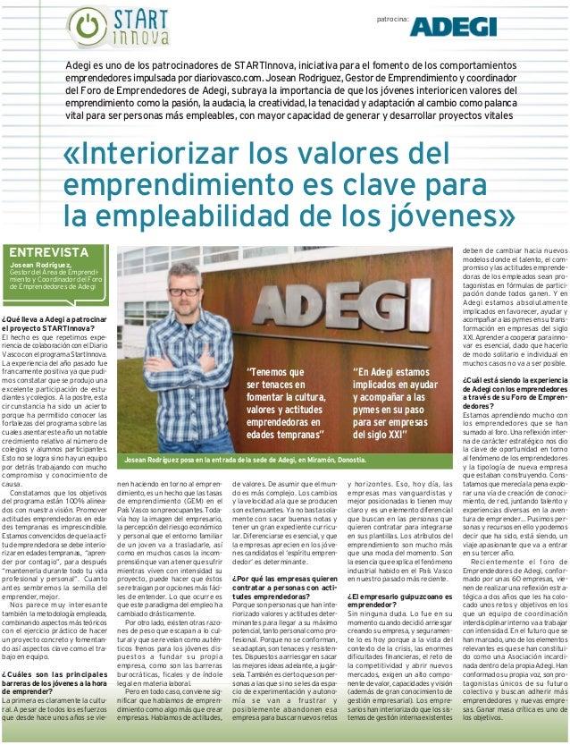 Entrevista josean rodriguez en Diario Vasco. Programa STARTInnova