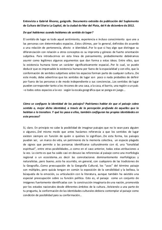 Entrevista a Gabriel Álvarez, geógrafo. Documento extraído de publicación del Suplementode Cultura del Diario La Capital, ...