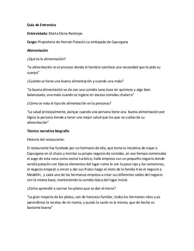 Guía de EntrevistaEntrevistada: Marta Elena RestrepoCargo: Propietaria de Hernán Patacón La embajada de CapurganaAlimentac...