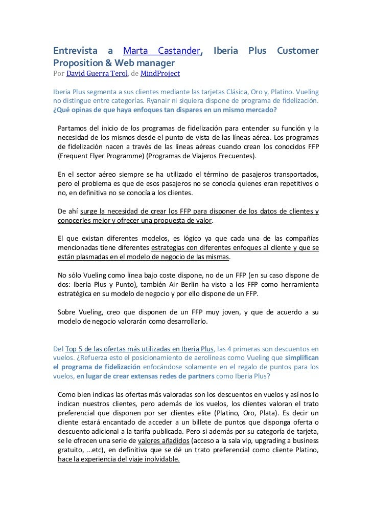 Entrevista a Marta Castander,                         Iberia      Plus     CustomerProposition & Web managerPor David Guer...