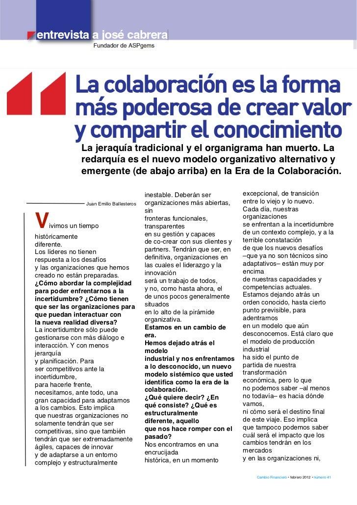 Entrevista para Cambio Financiero
