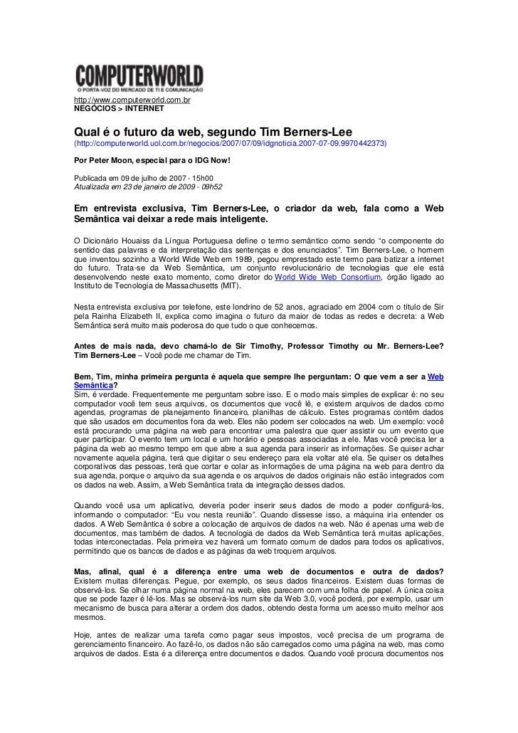 Entrevista exclusiva tim berners lee