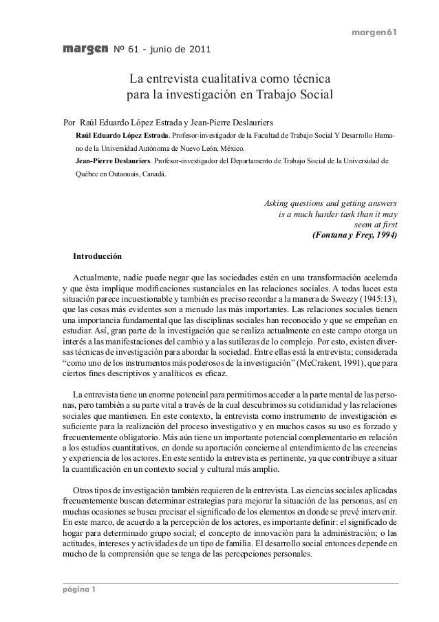 margen61  página 1  margen Nº 61 - junio de 2011  La entrevista cualitativa como técnica  para la investigación en Trabajo...