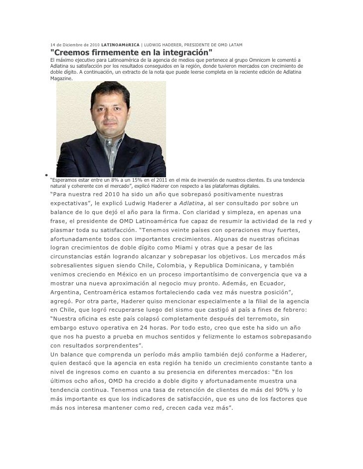 """<br />14 de Diciembre de 2010 LATINOAMéRICA   LUDWIG HADERER, PRESIDENTE DE OMD LATAM <br />""""Creemos firmemente en la int..."""